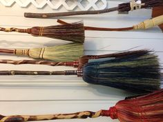 Some gorgeous, functional brooms from Laffing Horse Crafts located in Mountain View, AR. See 'em at the Ozark Folk Center