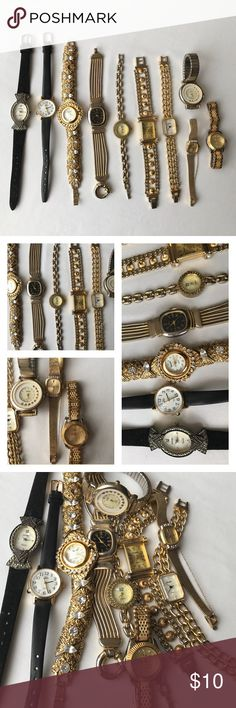 Vintage watches, bundle of 10 Nice variety of vintage watches! Came from my grandmother's collection. Will need new batteries, can't guarantee working condition. These are great to repurpose or wear! Brands include futura, timex, bonetto, giordano, seiko, Jaclyn smith, and more. Please refer to photos, there is discoloration in metals and rhinestones missing from watch bands. These are in used condition! BUNDLE AND SAVE! 🚫NO TRADES Vintage Accessories Watches