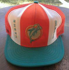 VTG Miami Dolphins NFL Cap Hat Nylon Mesh Snapback Trucker AJD Made in USA Large #AJD #Cap #Any