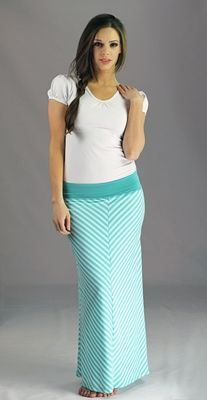 """""""Chevron Maxi"""" Modest Skirt in Teal Stripes. Want one."""