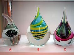 Glass paper weights.