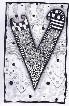 Zentangle, Letter V, Zebra Letters, name, bunting, alphabet. £3.50, via Etsy.