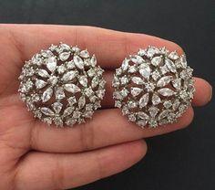 Diamond Earrings With Style! Buy Earrings, Bridal Earrings, Wedding Jewelry, Platinum Earrings, Silver Earrings, Platinum Ring, Silver Necklaces, Pakistani Jewelry, Indian Jewelry