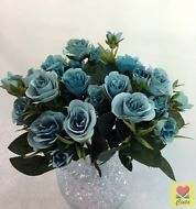 3 xartificial flower silk flowers blue light green peony bushes 3 x silk flower steel blue rose bushes home wedding decor mightylinksfo