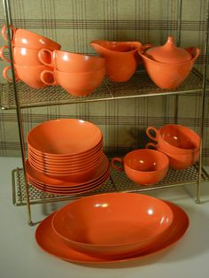 Coral Oneida melmac 24 piece dinnerware set by OrbitalArtifacts, $39.00