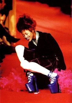 Naomi Campbell's epic fall on the catwalk for Vivienne Westwood,  London 1993
