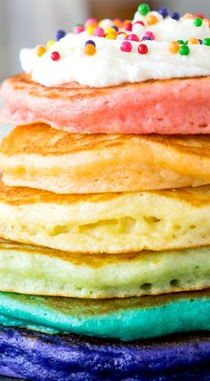 Rainbow Pancakes with Fluffy Frosting