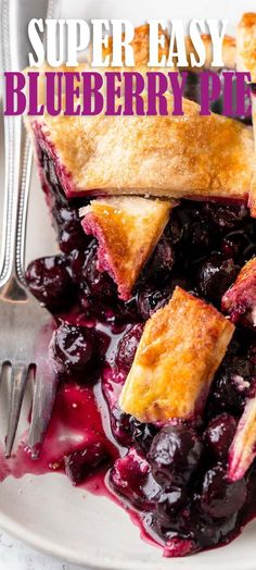 This super easy Homemade Blueberry Pie Recipe is filled with plump blueberries, fresh lemon zest and a hint of cinnamon in a flakey pie crust.