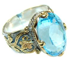$243.45 68 ct Marquise Cut Swiss Blue Topaz Sterling Silver Plated with 24ct Gold Ring s. 7 at www.SilverRushStyle.com #ring #handmade #jewelry #silver #topaz