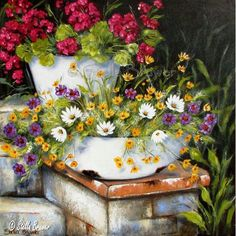 Art by Stella Beautiful Flower Arrangements, Beautiful Flowers, Texture Painting, Painting & Drawing, Flower Vases, Flower Art, Stella Art, Creation Photo, Garden Painting