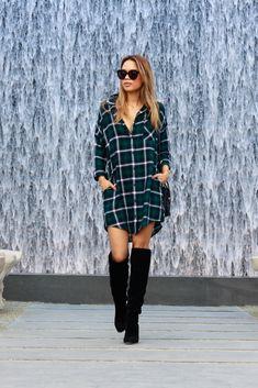 The Grunge // Oversized plaid shirt dress + Aldo Bove OTK boots. #outfit #inspiration #overtheknee