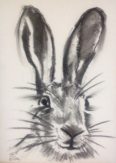 Charcoal hare face, large