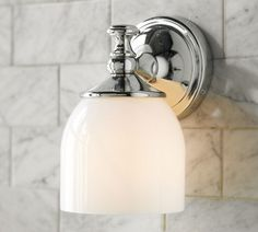 Mercer Single Sconce in satin nickel| Pottery Barn - one on either side of the mirror, and next to the toilet.