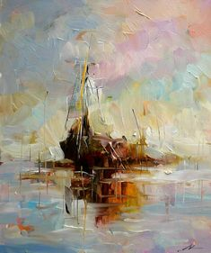 Home Decor - Wall Art - Oil Paintings - Abstract Paintings - Hand Painted Oil Painting Abstract Vessel Abstract Painters, Oil Painting Abstract, Abstract Art, Knife Painting, Ship Paintings, Landscape Paintings, Sailboat Painting, Boat Art, Nautical Art