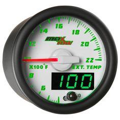 2 1//16 Pickup Truck or Car Pyrometer Gauge Exhaust Gas Temperature Sensor for Any Semi LED Color: Blue Gauge Diameter Bezel: Chrome