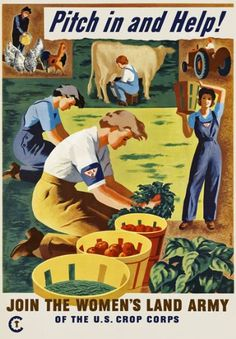 """2W16 Vintage WWII Pitch In And Help Women's Land Army War Poster WW2 - A3 (432 x 305mm) 16.5"""" x 11.7"""": Amazon.co.uk: Kitchen & Home"""
