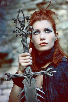 warrior priestess sword - red head