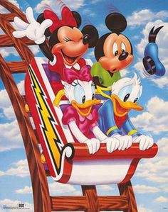 Walt Disney Mickey Mouse and Friends Rollercoaster Art Print Poster Mini Poster Poster Print, Retro Disney, Disney Love, Disney Magic, Disney Art, Disney Collage, Walt Disney Mickey Mouse, Mickey Mouse And Friends, Daisy Duck, Images Disney