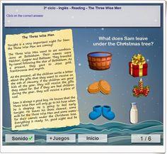 """La lectura """"The Three Wise Men"""" es una actividad de comprensión lectora para niños de 5º y 6º niveles de Educación Primaria. Del portal mundoprimaria.com. English Play, Three Wise Men, Names, Esl, Reading, Portal, Comprehension Activities, Interactive Activities, Teaching Resources"""