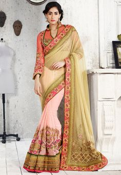 Light Olive Green and Peach Net and Faux Georgette Saree with Blouse: STN882