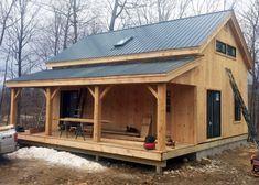 Check out our expandable and customizable timber frame cottage plans! You can buy DIY or cabin plans online from Jamaica Cottage Shop today! Jamaica, Ideas De Cabina, Timber Frame Cabin, Shed Plans 12x16, Cabin Kits, Shed Cabin, Tiny House Cabin, House Of Beauty, Cabin In The Woods