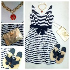 LILLY PULITZER, Rosewell dress in bright navy, TORY BURCH, Wristlet in metallic gold, JACK ROGERS, Navajo in midnight, MONKEE'S, necklace