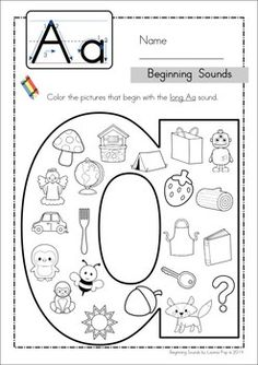 Beginning Sounds - Color It! (lowercase version) Beginning Sounds - Color It! (lowercase version) Original article and pictures take htt. Preschool Letters, Learning Letters, Kindergarten Literacy, Preschool Learning, Alphabet Activities, Literacy Activities, Educational Activities, Teaching Resources, Alphabet Worksheets