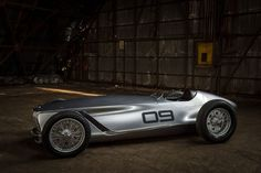 Nissan Motor Corporation and premium automotive brand INFINITI have unveiled a sleek, open-wheeled electric retro-roadster prototype at the 2017 Pebble Beach Concours d'Elegance. The car, called Prototype Porsche Garage, Grand Prix, Sport Cars, Race Cars, Mercedes Benz, Automobile, Pebble Beach Concours, Nissan Leaf, Mustang Fastback