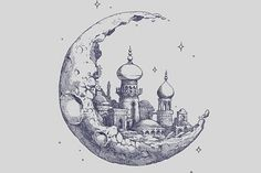 : Photo Moon + Drawing + Handmade + Illustration + Castle + 1001 nights + Stars You are able to work with the pencil drawing tec. Art And Illustration, Hipster Illustration, Hipster Drawings, Art Drawings, Hipster Doodles, Pencil Drawings Tumblr, Inspiration Art, Art Inspo, Desenho Tattoo