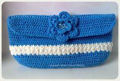 Tecendo Artes em Crochet: Porta-óculos Azul