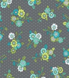 Keepsake Calico Fabric- Bouquets Teal & Gray