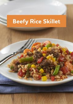 Beefy Rice Skillet is a fast and easy dinner recipe to prepare in just 25 minutes.
