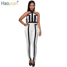 36d7c5de4277 HAOYUAN Rompers Womens Jumpsuit Sexy Off Shoulder Bodysuit Backless Jumpsuit  Overalls Black White Patchwork Striped Body Suit