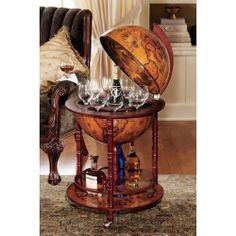 Globe Wet Bar Wine Cabinet Liquor Storage Rack Home Office Den Tuscan Furniture