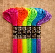 Fluro embroidery thread