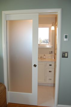 Interior pocket door with translucent glass insert bathrooms frosted glass panel interior doors planetlyrics Images