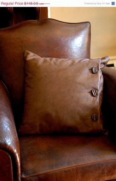 Leather Pillow / Vintage Button Pillow by 86home on Etsy