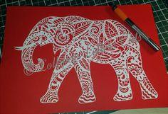 Paisley Elephant DIY Paper Cutting Template by KatiePackerArtist