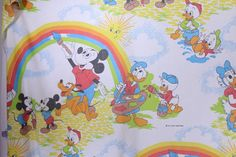 VTG Disney Mickey Mouse Donald Duck Cutter Fabric Craft Quilt Twin Flat Sheet #Pacific
