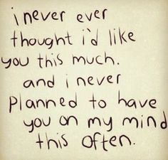 I never thought...
