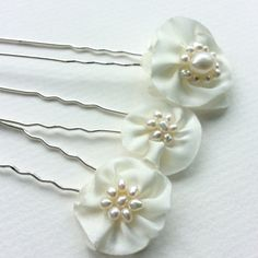 Ivory bridal hairpins with freshwater pearls, set of 3, by Blue Lily Magnolia £16.00