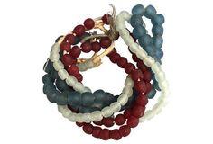 Red, White & Blue Sea Glass Strands, S/3