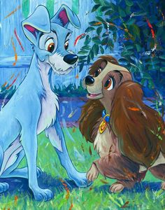 Originally Walt Disney did not want the iconic Bella Notte scene in Lady & the Tramp! Walt Disney, Disney Dogs, Disney Magic, Disney Cartoons, Disney Movies, Disney Characters, Disney Artwork, Disney Fan Art, Disney Animation