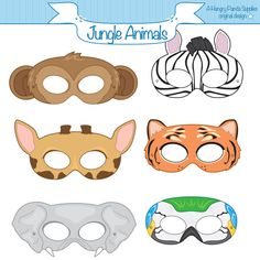 Jungle Animals Printable Party Masks by HungryPandaSupplies, $4.00