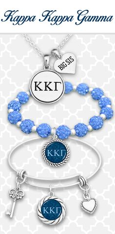 Kappa Kappa Gamma jewelry with custom charms for initials, Big Sis, Little, Mom, and more! - $9.98 Find them in 21 different sororities! // Perfect gifts for all your sisters!