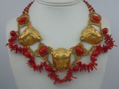 ASKEW LONDON LEOPARD HEAD AND CORAL NECKLACE