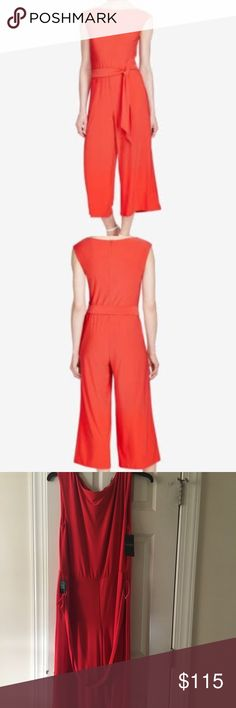Ralph Lauren Wide-leg Jersey Jumpsuit Perfect jumpsuit for the stylish woman to wear for just about any occasion! Brand new, never been worn with tags! Originally $155, sold elsewhere online for $124. Open to offers! Color is officially: fresh tomato. Ralph Lauren Pants Jumpsuits & Rompers