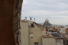 Sagrada Familia from Casa Mila, Antoni Gaudi, Barcelona, Spain. Construction 1882 - 2026 (estimated).   Barcelona Airport  Arrival Shuttle Transfer ! Excursions specialist in Barcelona Excursions specialist in Barcelona, Costa Brava & Catalunya. Vacation