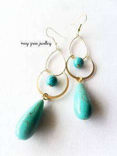 Turquoise and Gold Chandelier Earrings, Exotic Long Earrings