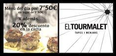 Menú del día por 7,50€ en lugar de 9'80€ y además 20% de descuento en la carta